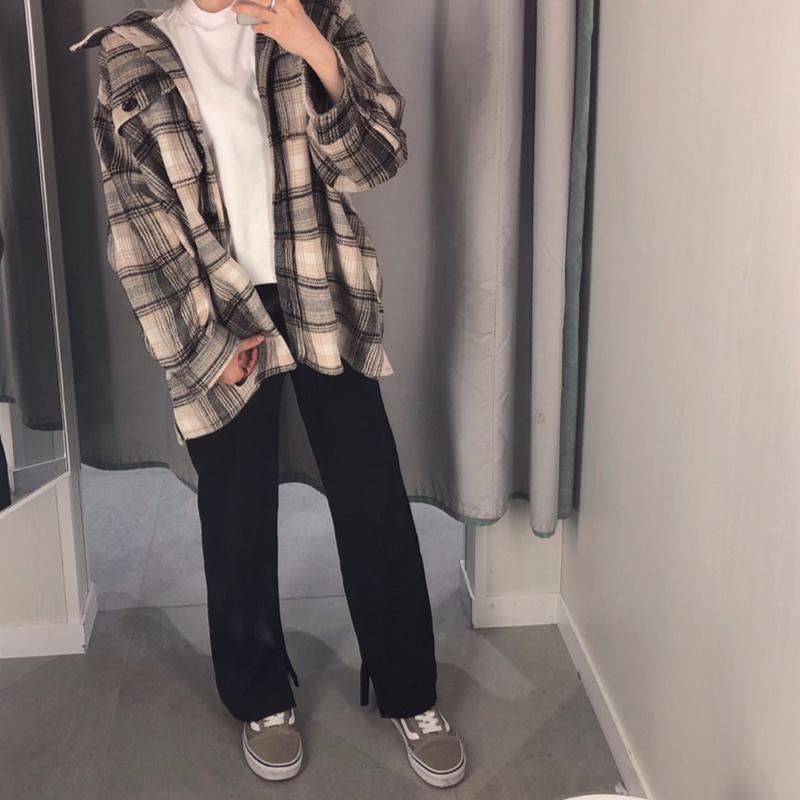H&M(エイチアンドエム)の「ロングシャツジャケット」をあわせたコーディネートです