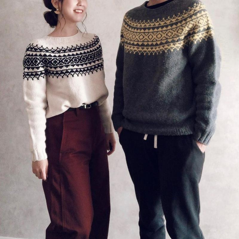 MORRIS & SONS(モリスアンドサンズ)の「ジーロンラム ノルディックセーター WOMEN」をあわせたコーディネートです