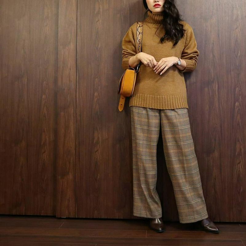 GU(ジーユー)の「ローゲージタートルネックセーター(長袖)」をあわせたコーディネートです