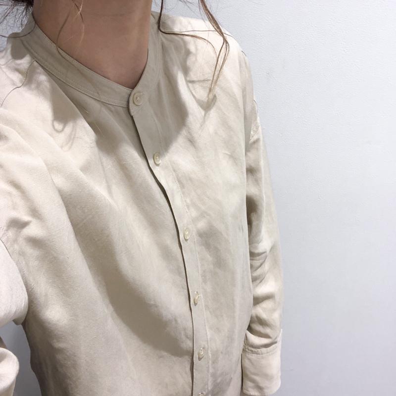 シャツ カラー リネン スタンド ブレンド
