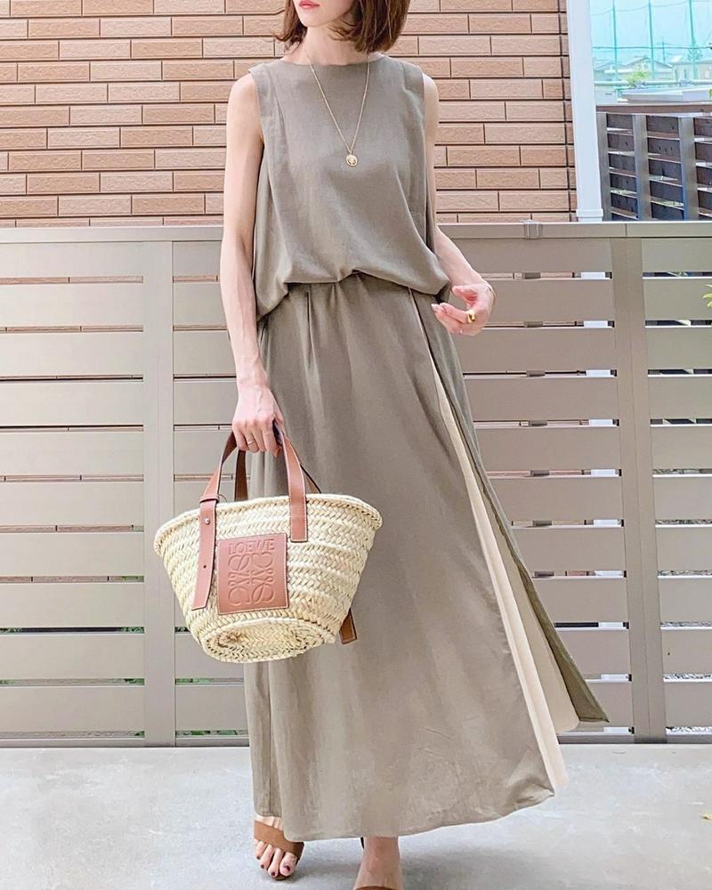 COTORICA.(コトリカ)の「麻混ZIPプリーツスカート」をあわせたコーディネートです