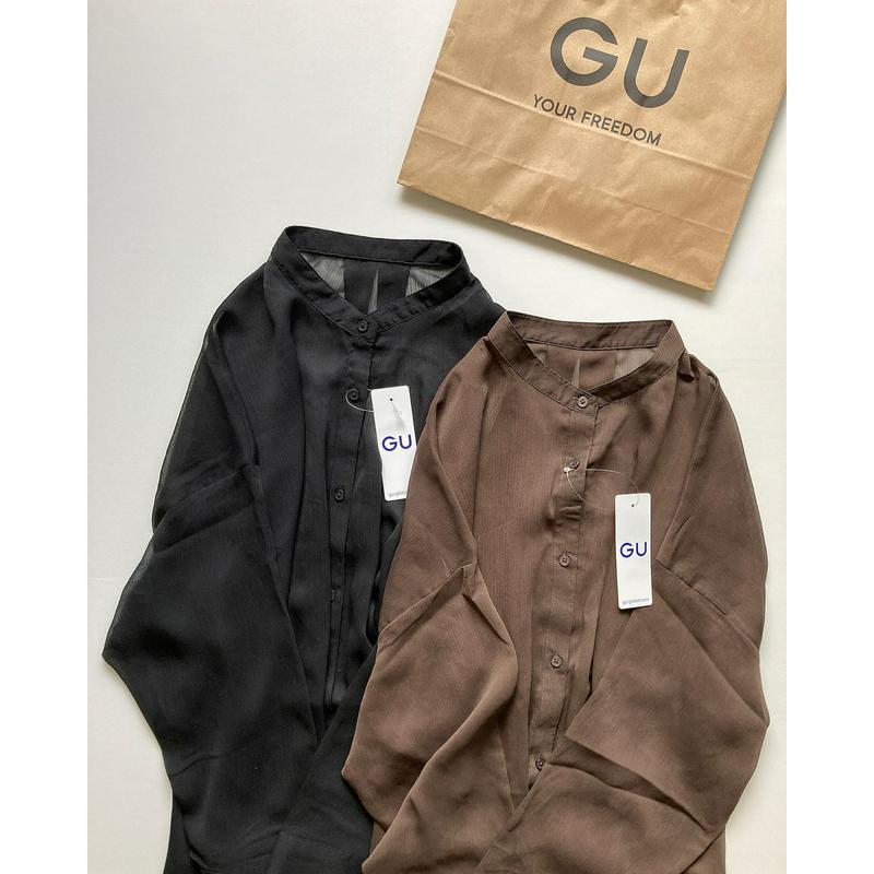 GU(ジーユー)の「シアーバンドカラーロングシャツ(長袖)Q」をあわせたコーディネートです