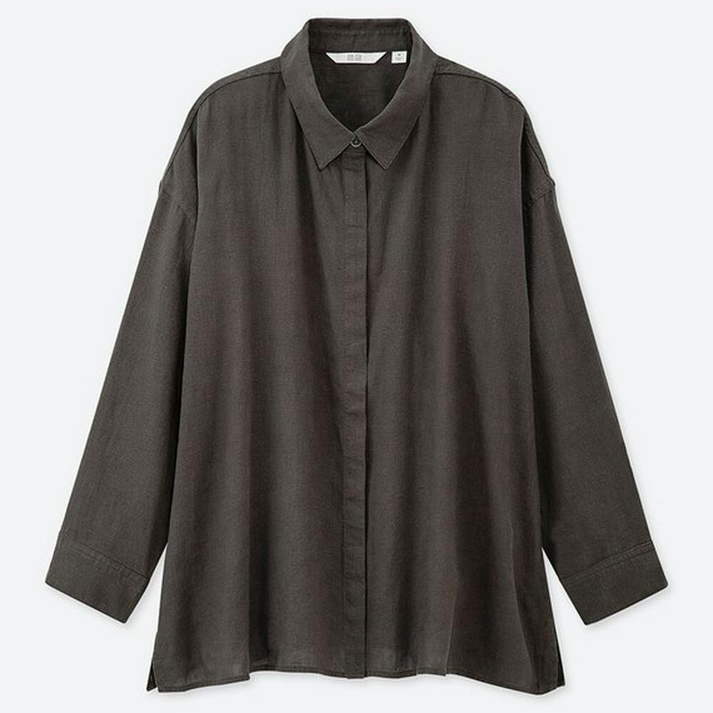 リネンブレンドシャツ(7分袖)