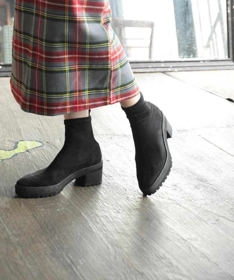 【20%offクーポン配布中】シューズ ストレッチショートブーツ レディース 靴 ソックスブーツ ブーティ DONOBAN SELECT|スウェード スエード 低反発 厚底 チャンキーヒール 太ヒール シャークソール ラバーソール ブラック 黒 美脚 歩きやすい ドノバンセレクト