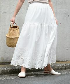 【送料無料】 BASEMENT online e スカート ロング マキシ丈 ロング丈 ティアード ボリューム ウエストゴム 大
