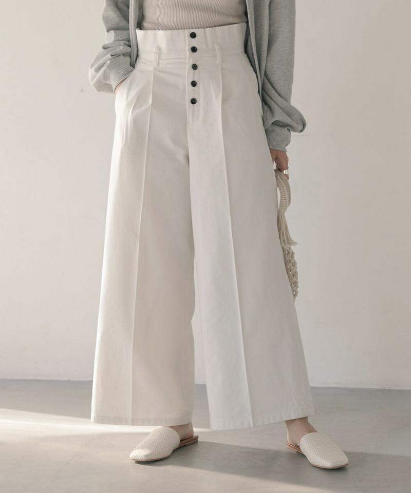 【送料無料】 RIBOU  レディース パンツ ワイド ボトムス ハイウエスト センタープレス ボタン きれいめ 麻 リネン 綿