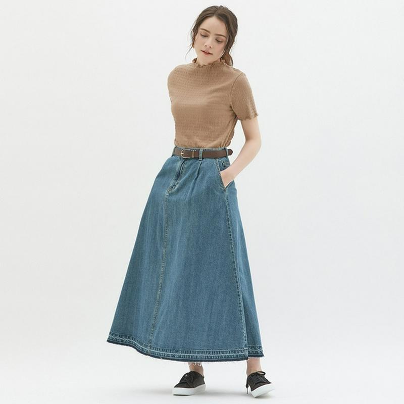 デニムフレアマキシスカート
