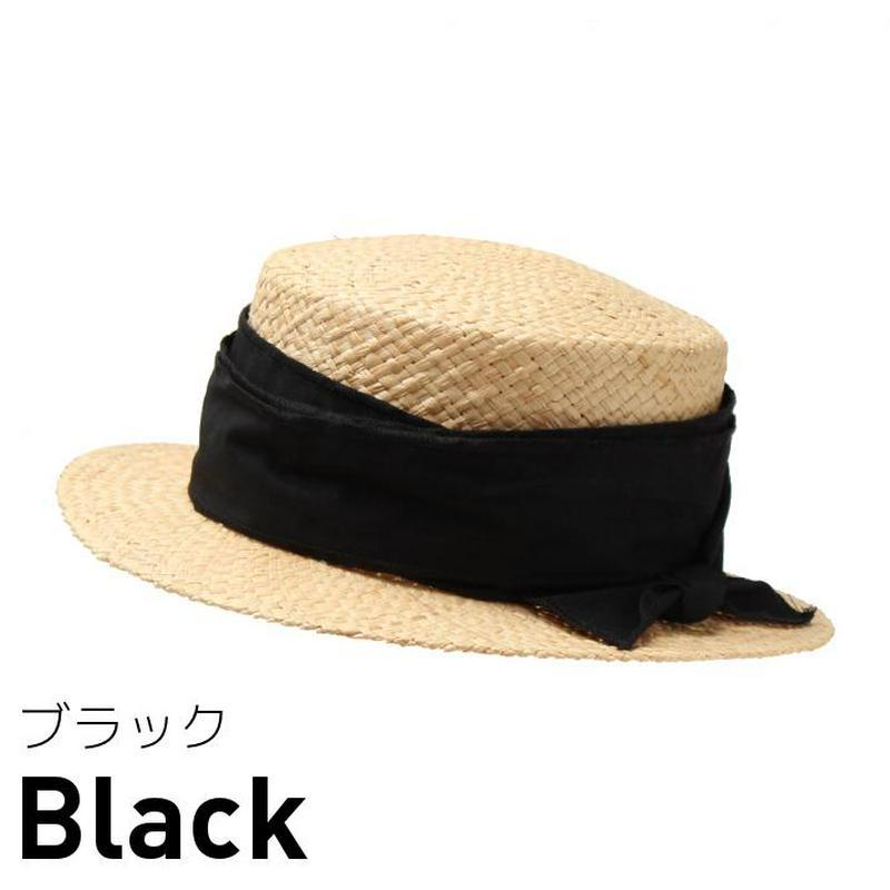 試着/帽子/ラフィアシートリボン巻カンカン帽/レディース