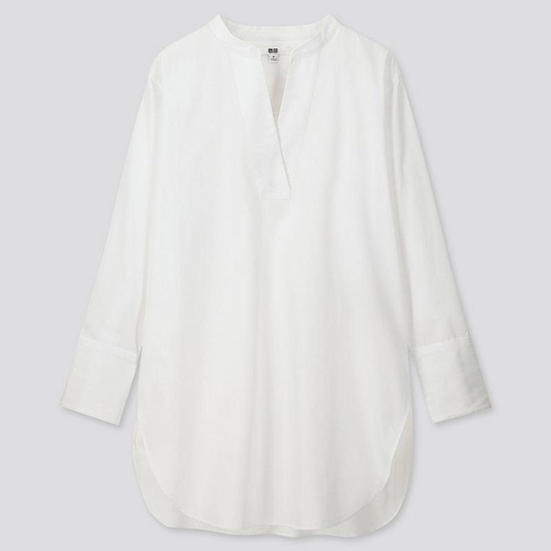 エクストラファインコットンVネックロングシャツ(長袖)
