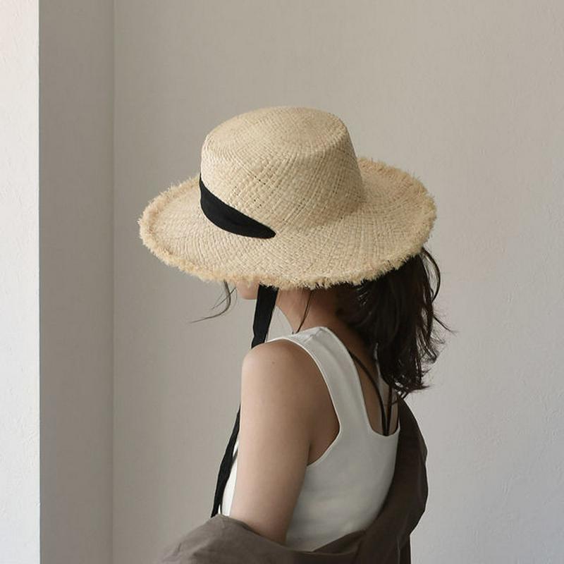 Lavish Gate カンカン帽 ラフィア リボン 麦わら帽子 帽子