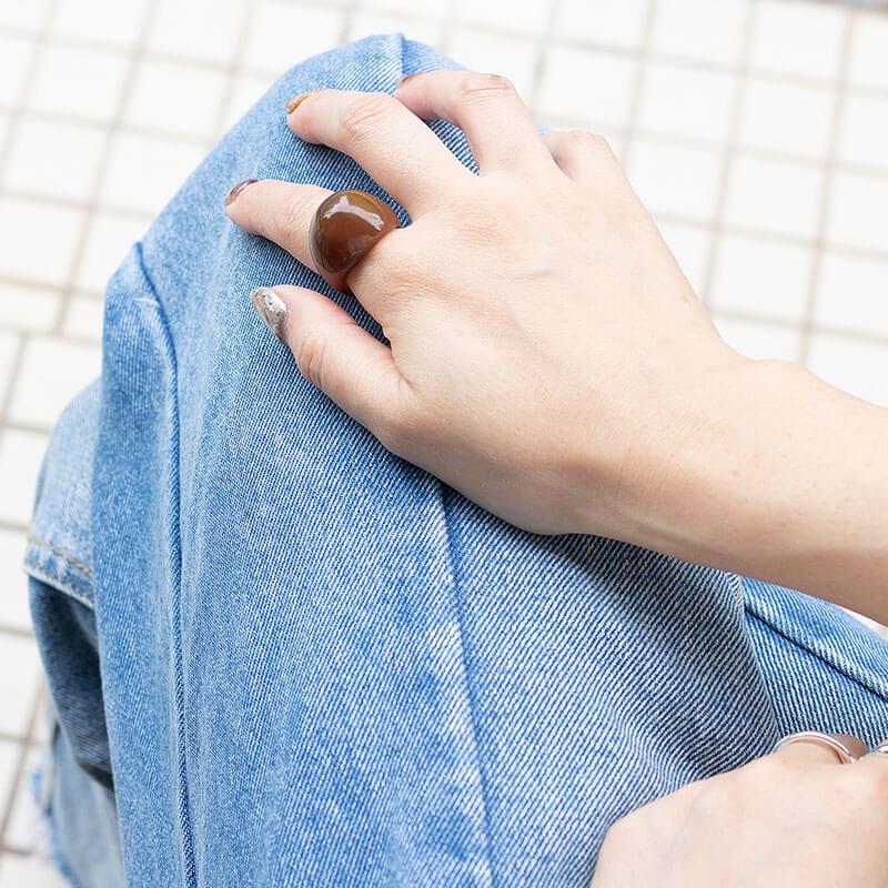 【メール便送料無料】アクリル ラウンド ボリューム リング 指輪 クリア レディース 太め 幅広 14号サイズ相当 シンプル ゴールド シルバー 大人 女性