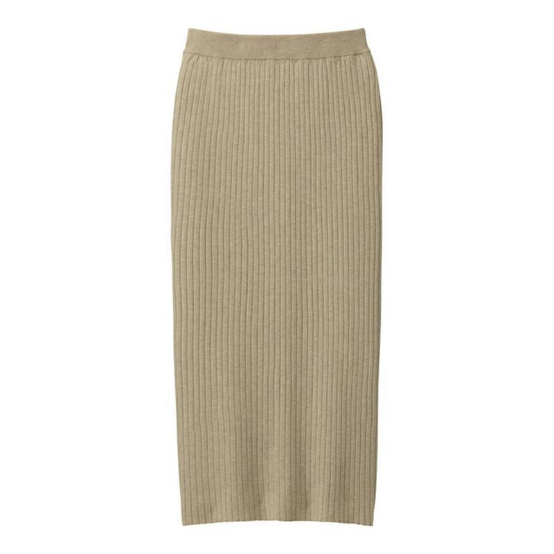 ワイドリブニットナロースカート(セットアップ可能)
