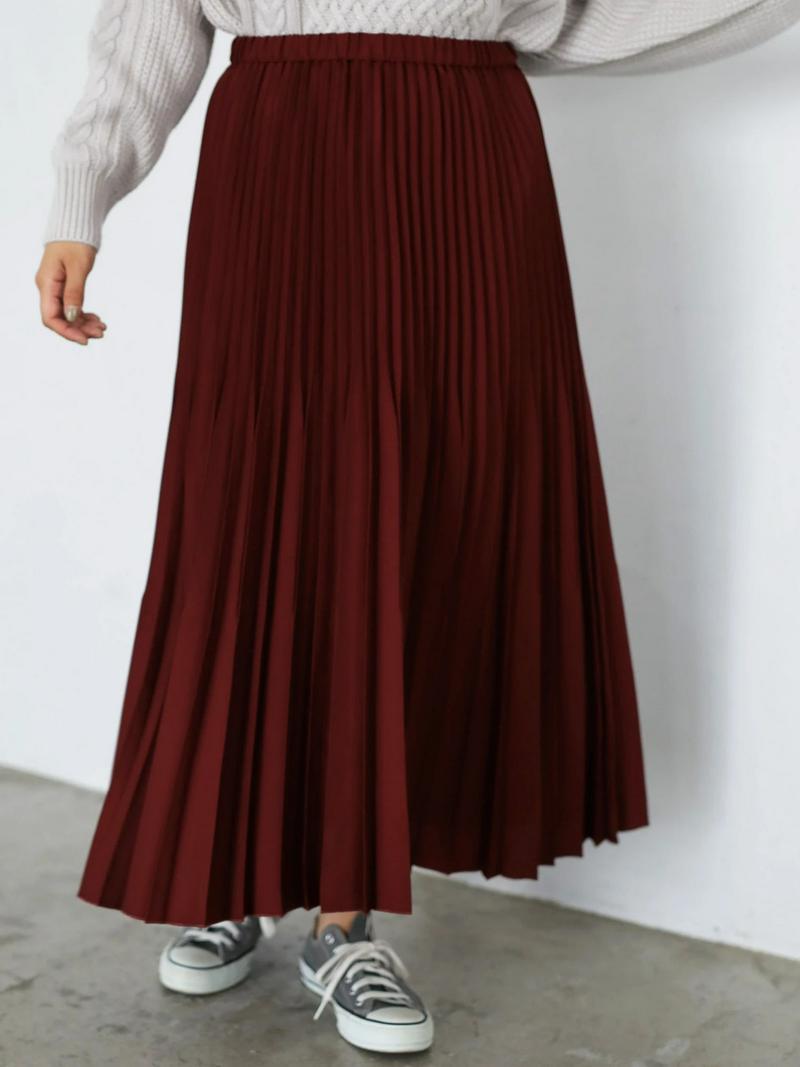 段々プリーツフレアロングスカート