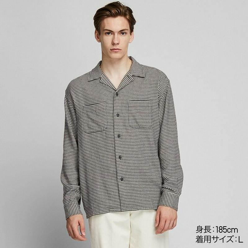 オーバーサイズフランネルオープンカラーシャツ(長袖)