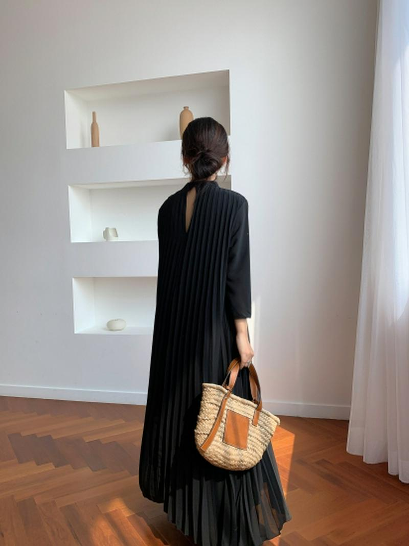 ロングプリーツドレス IN BLACK