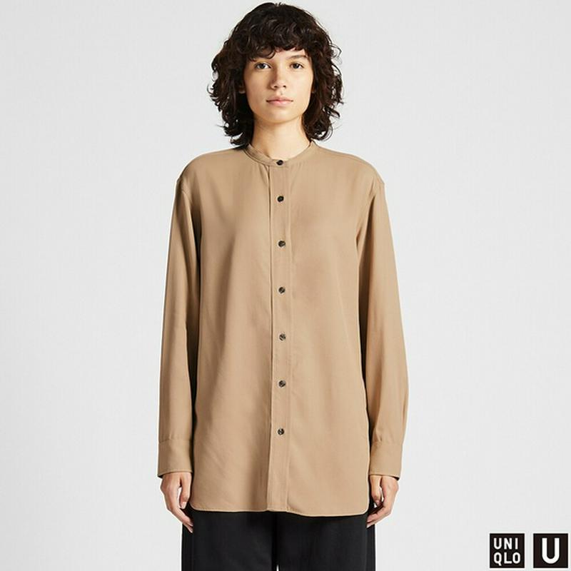 ドレープツイルスタンドカラーシャツ(長袖)
