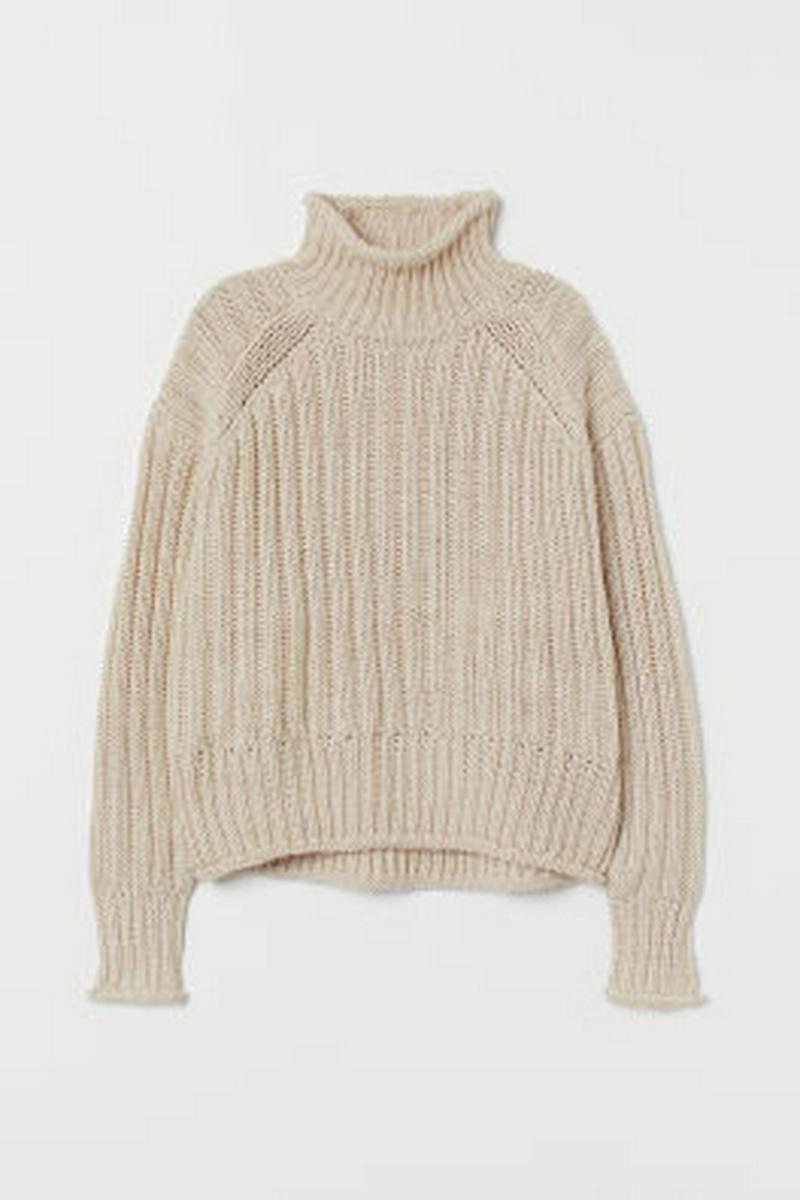 リブニット タートルネックセーター