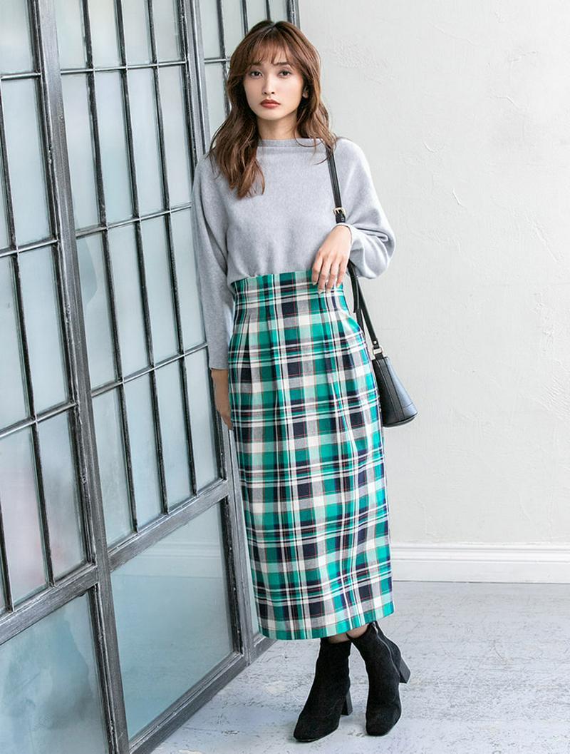 【インスタグラマーコラボ】カラーチェックバックスリットタイトスカート