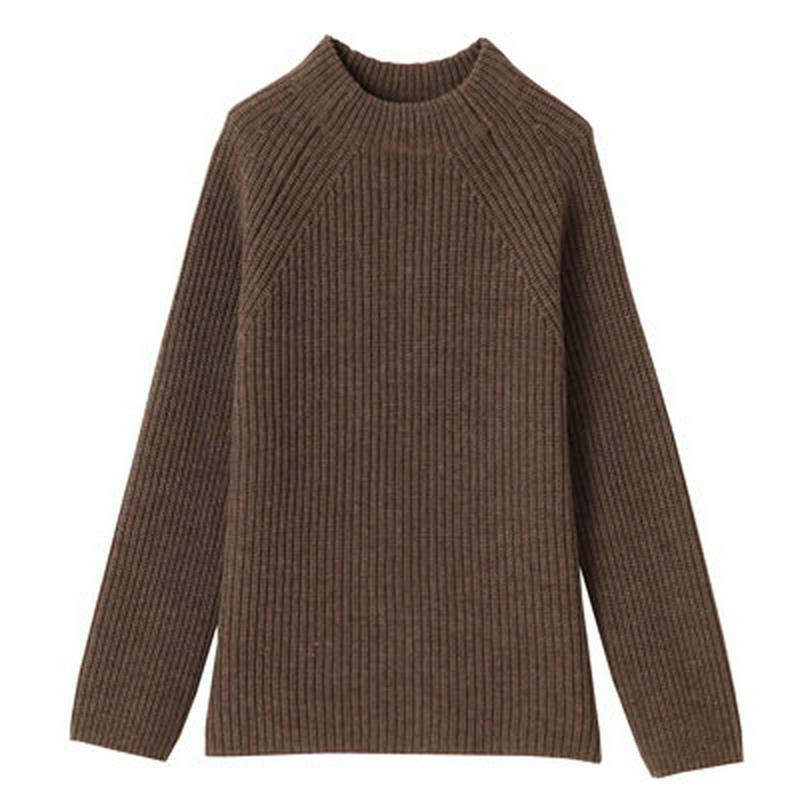 ヤク入りウール畦編みボトルネックセーター 婦人S・ダークモカブラウン