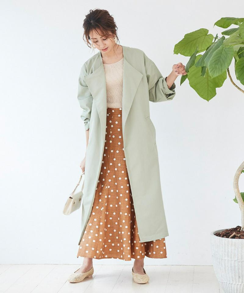 リネン混ドット柄フレアロングスカート【メール便可/100】