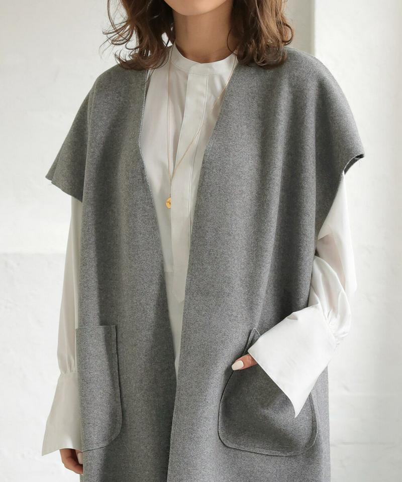 20%offクーポン配布中◆ベスト バイカラーロングジレ レディース アウター コート DONOBAN|羽織り ノースリーブ サ