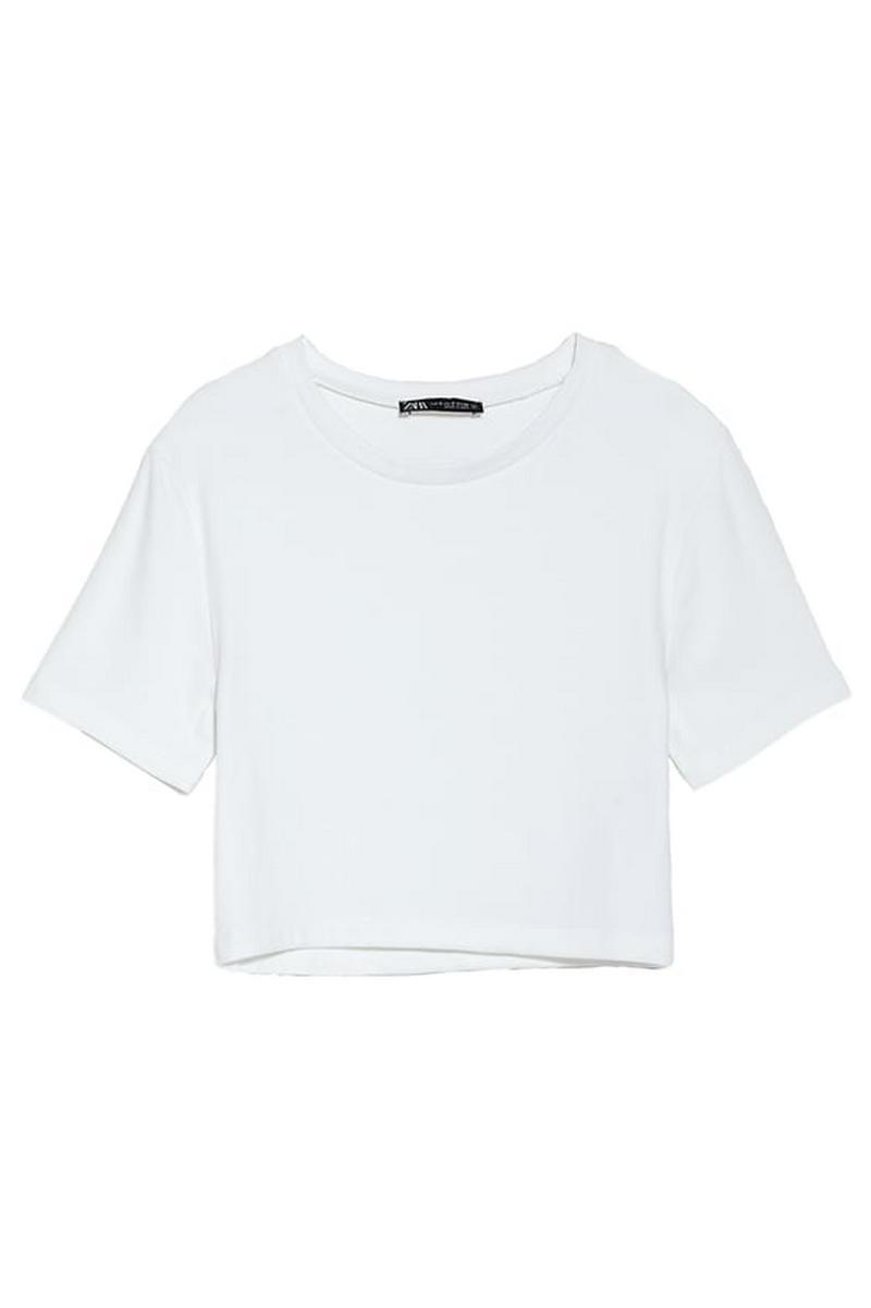 クロップド丈Tシャツ