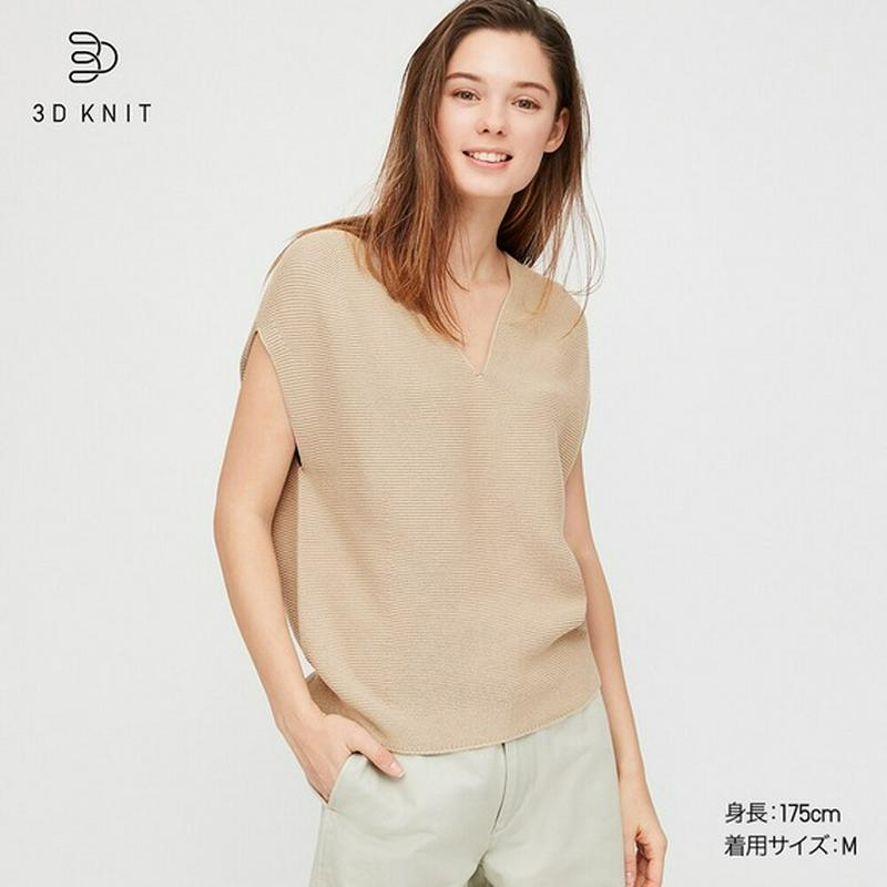 3DコットンコクーンVネックセーター(半袖)
