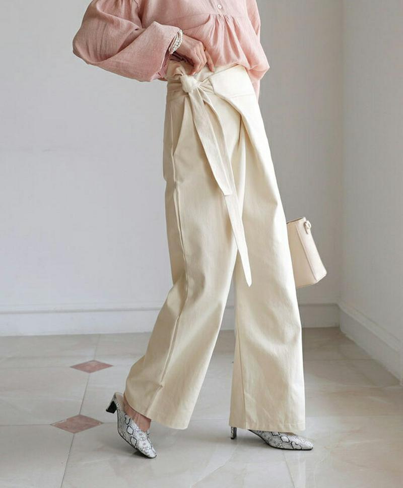 ラップワイドパンツ・全3色・t55780 レディース【pt】【パンツズボン ロングパンツ ワイドパンツ ワイド ラップ ハイウエ