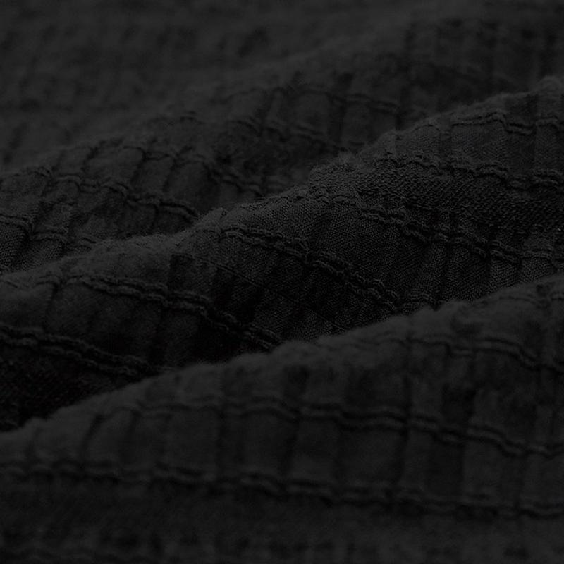シアサッカーボリュームスリーブブラウス(5分袖)