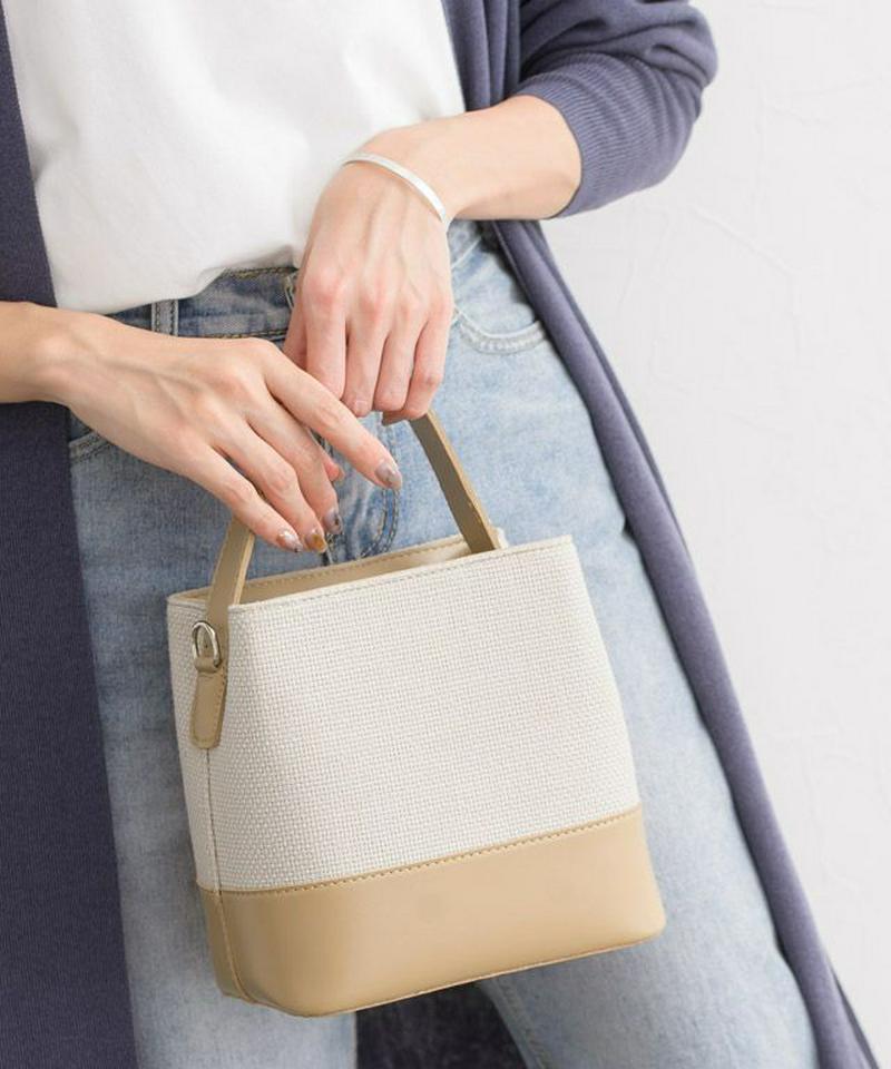 異素材切り替えハンドバッグ