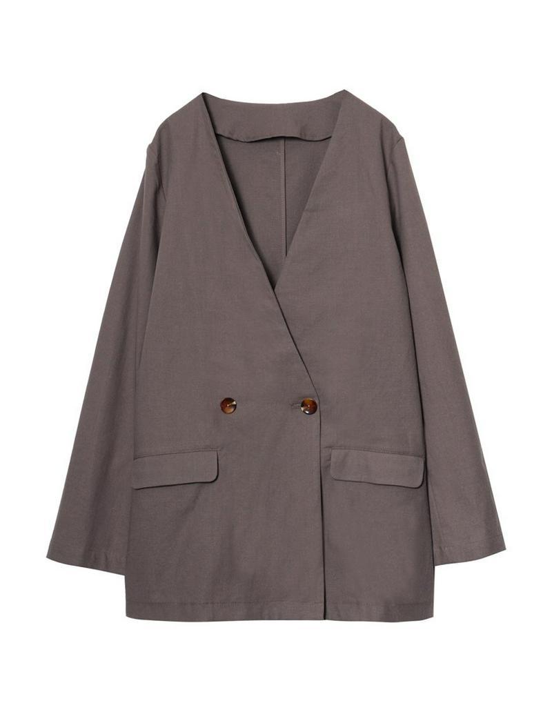 綿麻ノーカラージャケット[入荷済]