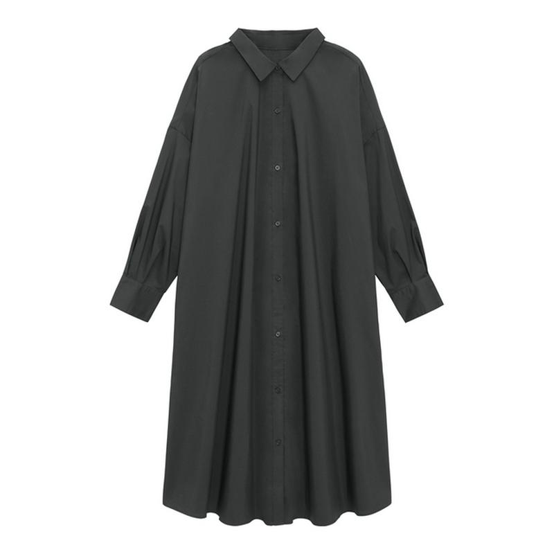 Aラインシャツワンピース(長袖)