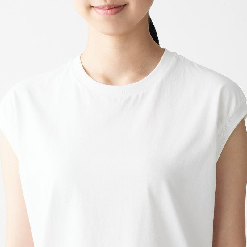 インド綿天竺編みスリーブレスTシャツ 白