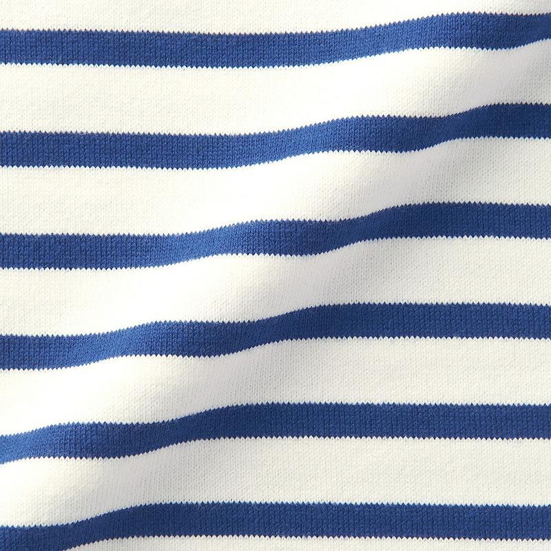 太番手天竺編みドロップショルダーTシャツ(七分袖) パネル 婦人XS~S・白×ブルー