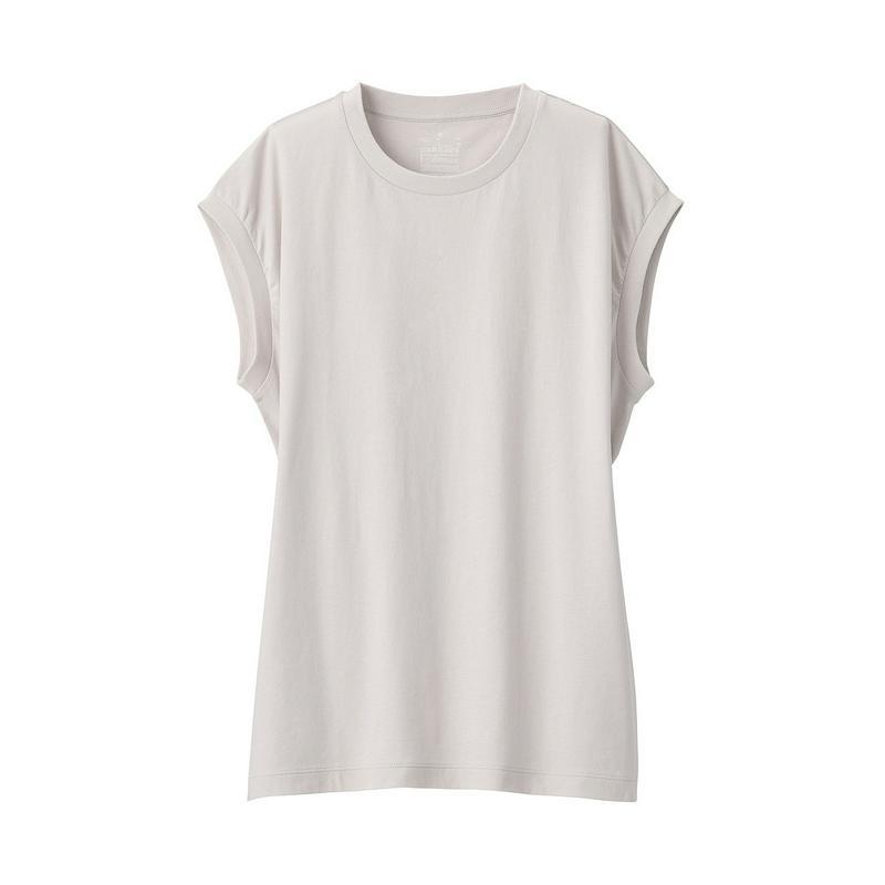インド綿天竺編みスリーブレスTシャツ 婦人XS・ライトシルバーグレー