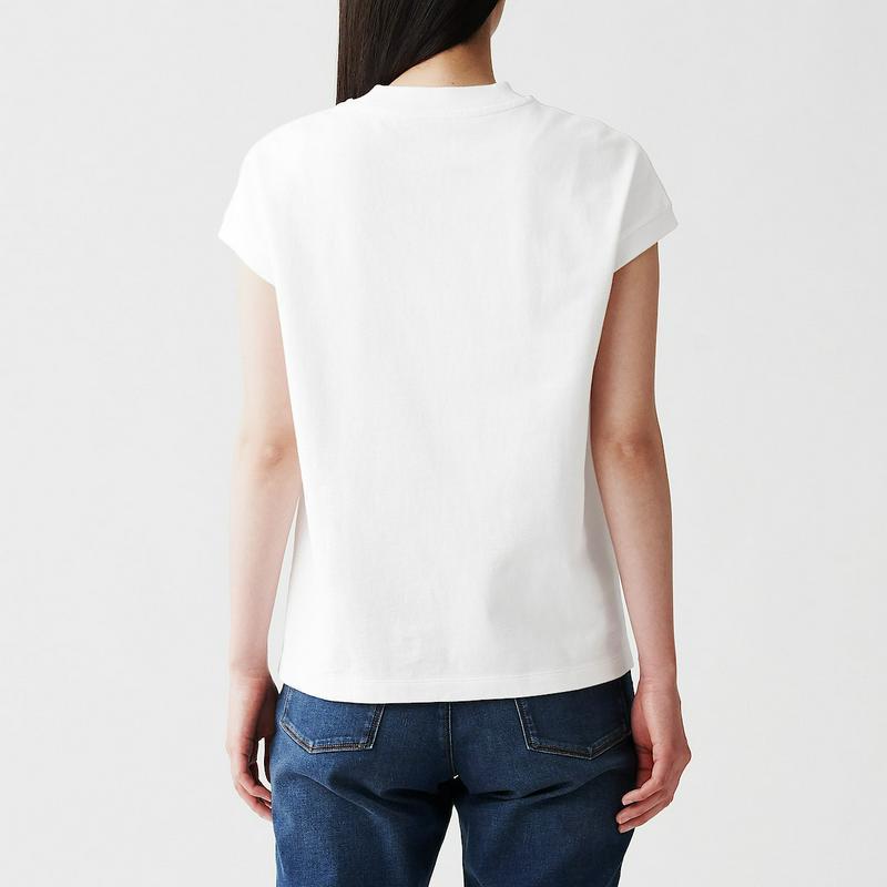 太番手天竺編みフレンチスリーブTシャツ 婦人XS・白