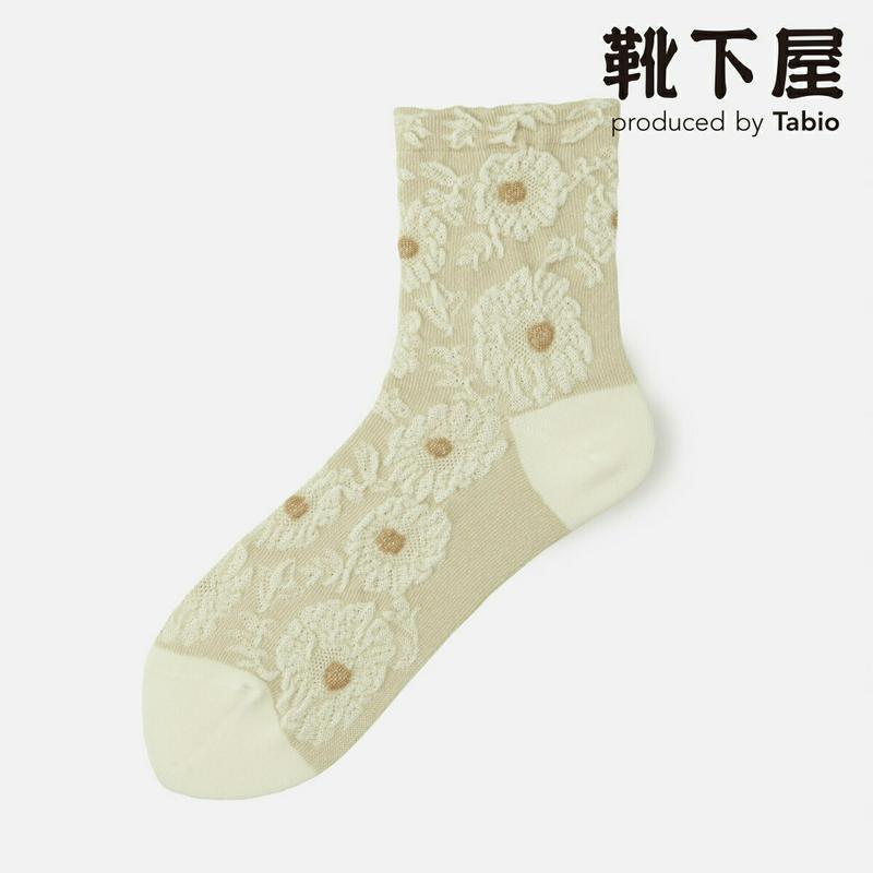 【あす楽】【靴下屋】 メランジ花柄ショートソックス 20〜22cm / 靴下 タビオ Tabio くつ下 ショート レディース