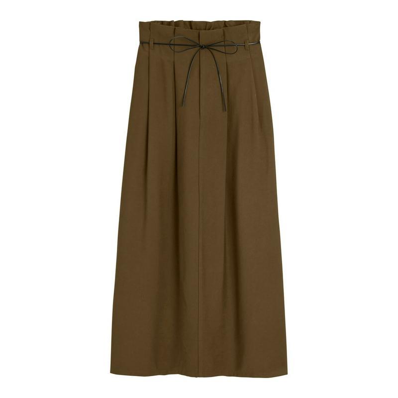 ベルト付きペーパーバッグナロースカート