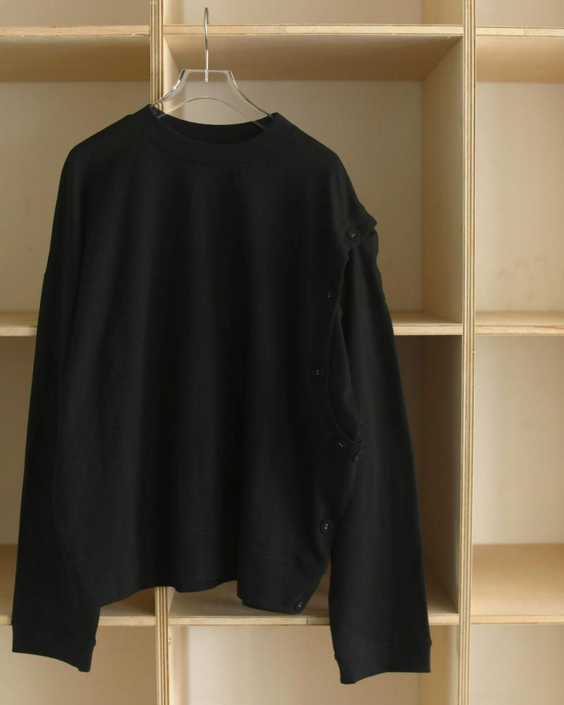 Asymmetry Button Long T-Shirts