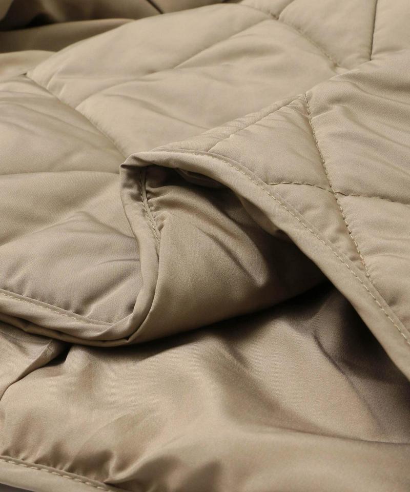 中綿キルティングノーカラージャケット