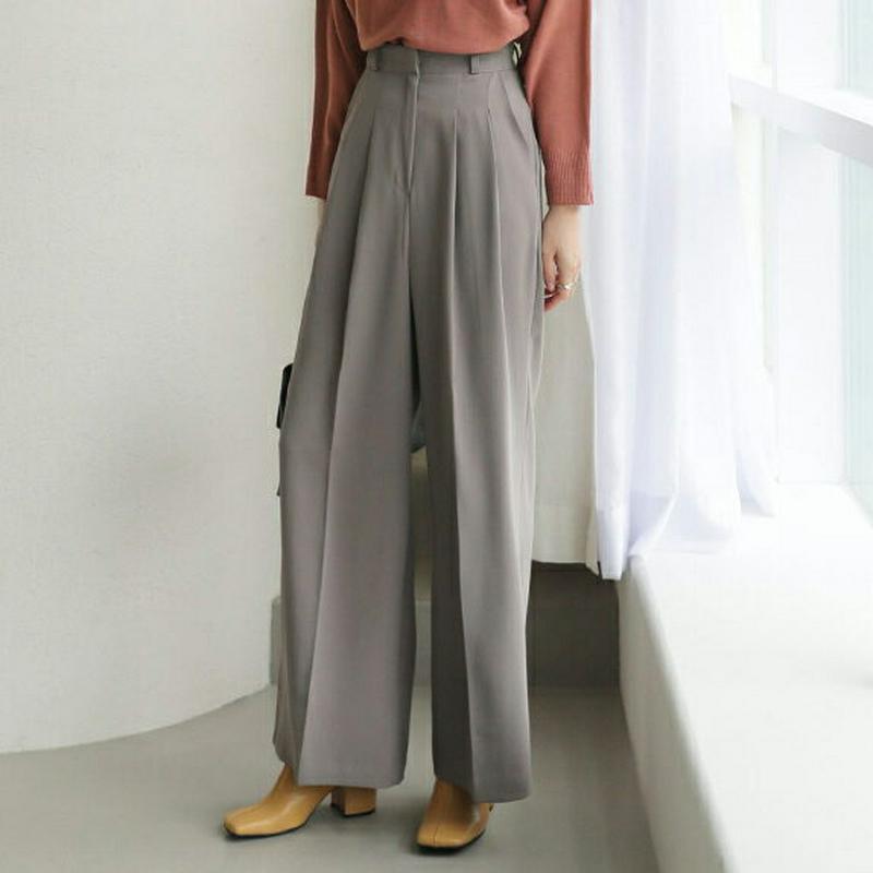 【新作10%OFF】ツータックワイドパンツ・全3色・t63790 レディース【pt】【韓国 ファッション パンツ ズボン ロング
