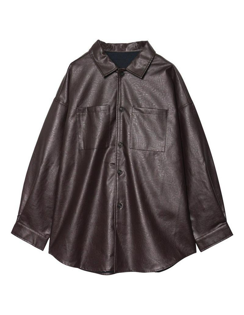 [お家で洗える]ビッグシルエットヴィーガンレザーシャツジャケット[入荷済]