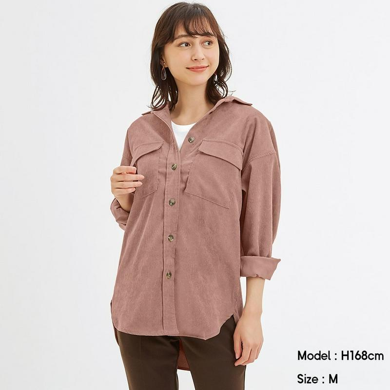 コーデュロイベルテッドオーバーサイズシャツ(長袖)(セットアップ可能)