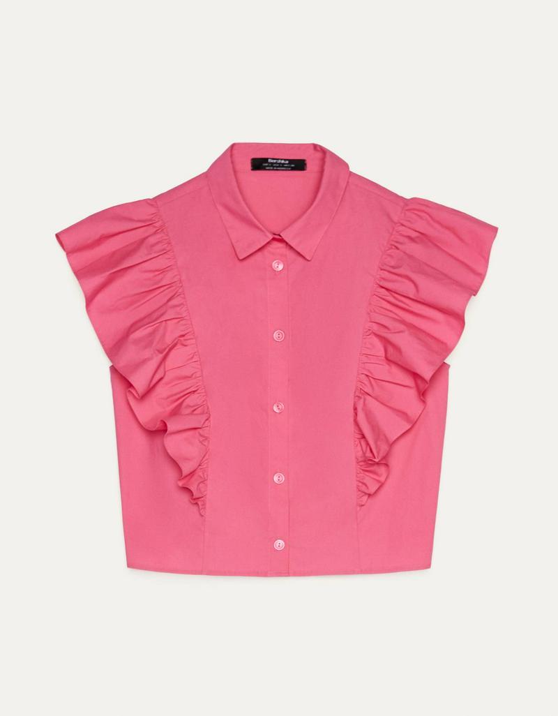 フリルトリム付きポプリンシャツ