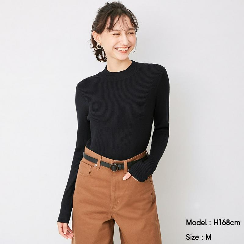 リブハイネックセーター(長袖)