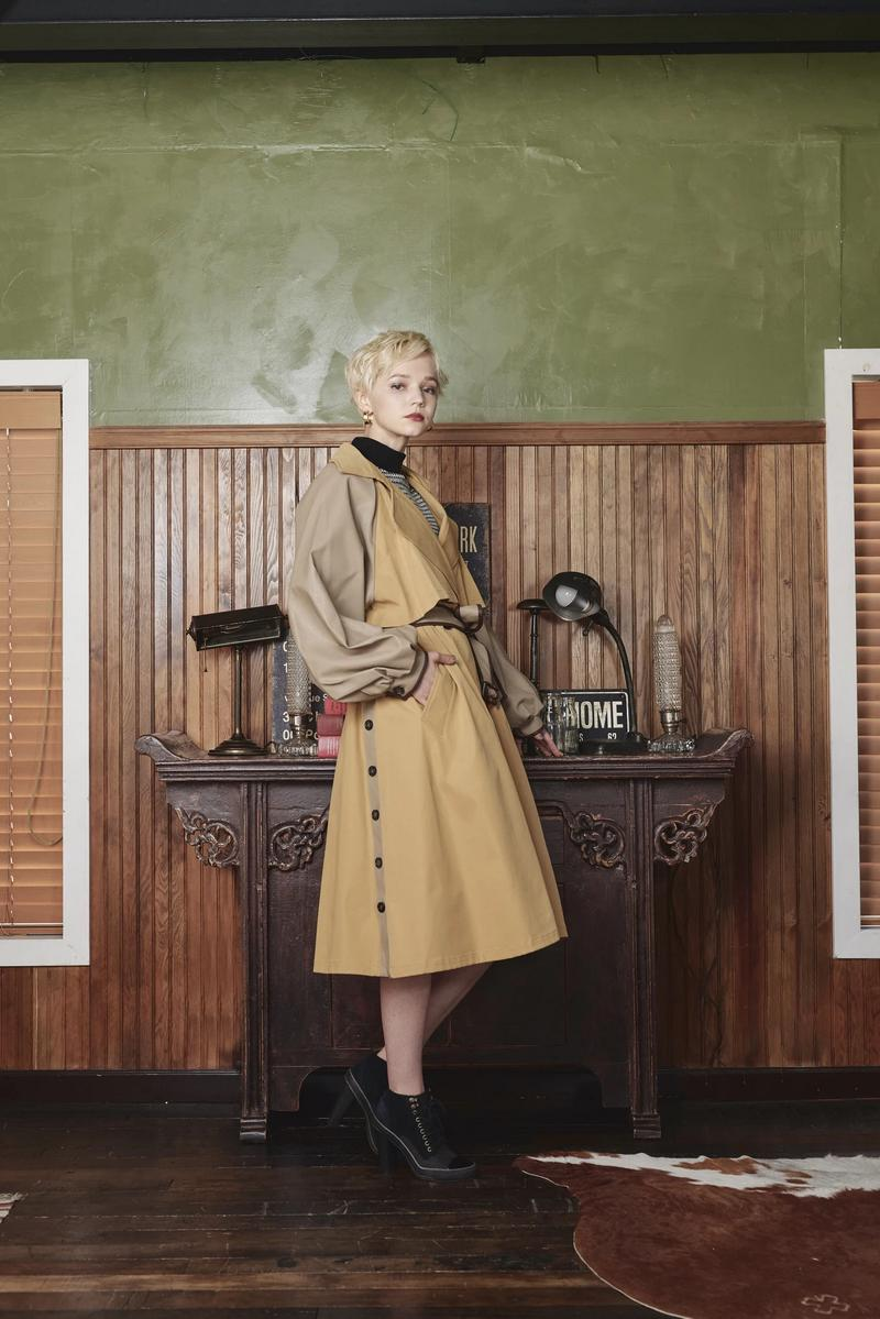 ECO LEATHER SLEEVE TRENCH