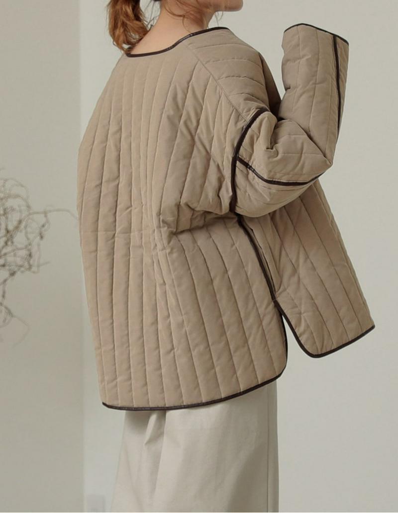 パイピング中綿キルティングミドルジャケットコート[入荷済]