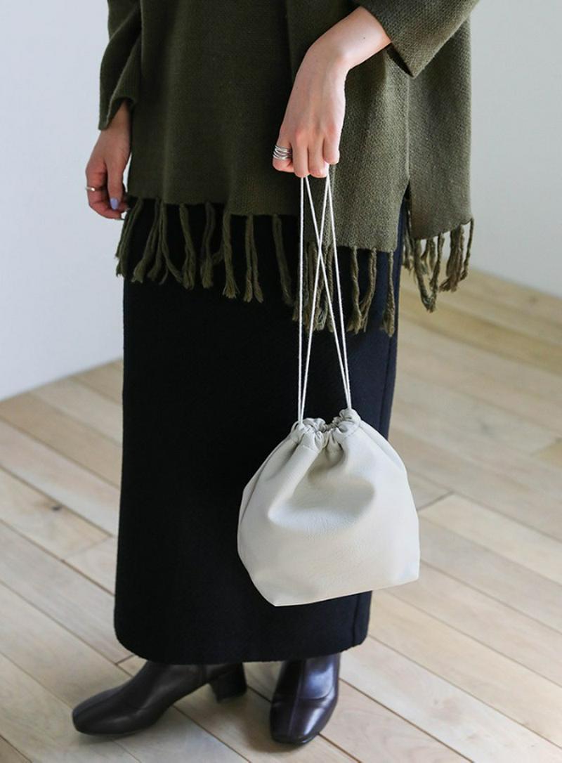 2020 A/W フェイクレザー巾着バッグ【メール便不可】