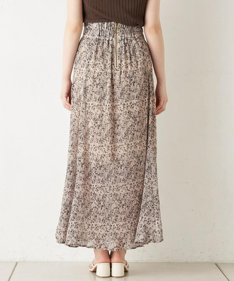小花柄単色フレアプリーツスカート