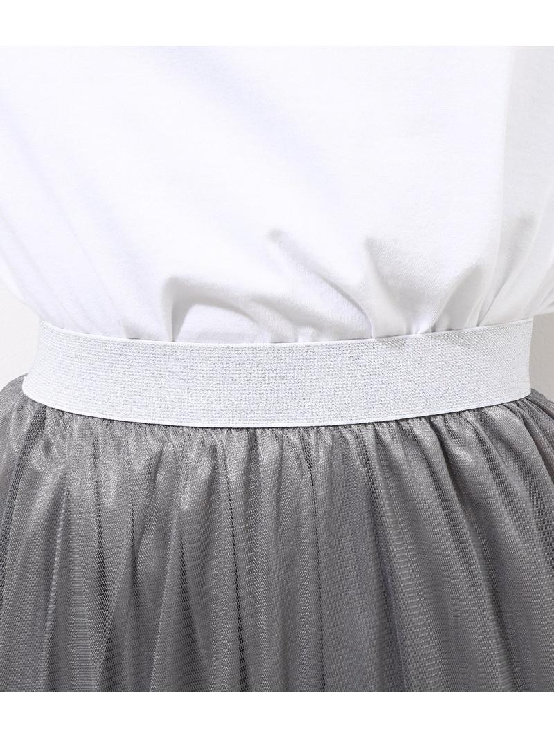 チュールレース切替スカート
